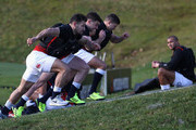 (L-R)  Danny Care, George Ford and Ben Youngs take part in sprint training during the England training session held at Pennyhill Park on February 2, 2018 in Bagshot, England.