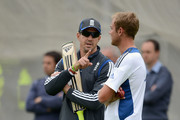 Kevin Pietersen and Stuart Broad of England chat during a nets session at Edgbaston on June 5, 2012 in Birmingham, England.