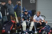 Kevin Pietersen and Stuart Broad (R) of England wait to bat during a nets session at Edgbaston on June 5, 2012 in Birmingham, England.