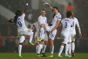 Jill Scott (C) of England celebrates after scoring alongside Eniola Aluko (L) and Laura Bassett (2L) during the UEFA Women's Euro 2017 Qualifier match between England and Bosnia and Herzegovina at Ashton Gate on November 29, 2015 in Bristol, England.