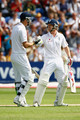 Kevin Pietersen and Paul Collingwood of England during day one of the npower 1st Ashes Test Match between England and Australia at the SWALEC Stadium on July 8, 2009 in Cardiff, Wales.