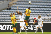 (CHINA OUT) Jill Scott #6 of England and Samantha Kerr #20 of Australia compete for the ball in the match between England and Australia during the 2015 Yongchuan Women's Football International Matches at Yongchuan Sports Center on October 27, 2015 in Yongchuan, Chongqing of China.