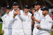 (L-R) Graeme Swann, Kevin Pietersen, James Anderson, Stuart Broad and Matt Prior of England smile during the presentation on day five of the 5th Investec Ashes Test match between England and Australia at the Kia Oval on August 25, 2013 in London, England.