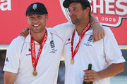 Andrew Flintoff (L) of England smiles with Steve Harmison after England's victory during day four of the npower 5th Ashes Test Match between England and Australia at The Brit Oval on August 23, 2009 in London, England.