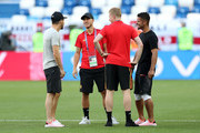 Eden Hazard of Belgium looks on during a pitch inspection prior to the 2018 FIFA World Cup Russia group G match between England and Belgium at Kaliningrad Stadium on June 28, 2018 in Kaliningrad, Russia.