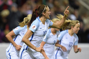 Jill Scott of England celebrates after scoring the equalizing goal during the UEFA Women's European Qualifer between England and Belgium at The New York Stadium on April 8, 2016 in Rotherham, England.