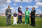 England captain Eoin Morgan tosses the coin alongside Ireland captain William Porterfield ahead of the Royal London One Day International between England and Ireland at The Brightside Ground on May 5, 2017 in Bristol, England.