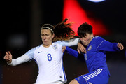 Jill Scott of England in action during the FIFA Women's World Cup Qualifier match between England and Kazakhstan at the Weston Homes Community Stadium on November 28, 2017 in Colchester, England.