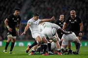 Ben Youngs of England kicks clear during the Quilter International match between England and New Zealand at Twickenham Stadium on November 10, 2018 in London, United Kingdom.