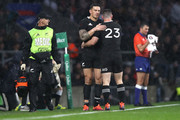 Sonny Bill Williams of the All Blacks hugs Ryan Crotty as he leaves the field with an injury during the Quilter International match between England and New Zealand at Twickenham Stadium on November 10, 2018 in London, United Kingdom.