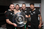 (L-R) Ryan Crotty, Jack Goodhue, Ben Smith and Ardie Savea pose with the Hillary Shield during the Quilter International match between England and New Zealand at Twickenham Stadium on November 10, 2018 in London, United Kingdom.