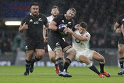 Kieran Read of New Zealand is tackled by Ben Youngs of England during the Quilter International match between England and New Zealand at Twickenham Stadium on November 10, 2018 in London, United Kingdom.