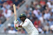 Pakistan captain Sarfraz Ahmed bats during the 2nd NatWest Test match between England and Pakistan at Headingley on June 1, 2018 in Leeds, England.