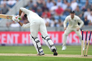 Pakistan captain Sarfraz Ahmed is bowled by James Anderson of England during the 2nd NatWest Test match between England and Pakistan at Headingley on June 1, 2018 in Leeds, England.
