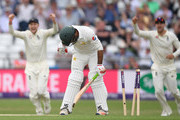 Pakistan batsman Sarfraz Ahmed is bowled by James Anderson during day one of the second Test Match between England and Pakistan at Headingley on June 1, 2018 in Leeds, England.