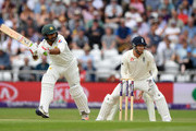 Pakistan batsman Sarfraz Ahmed hits out as Jonny Bairstow looks on during day three of the 2nd Test Match between England and Pakistan at Headingley on June 3, 2018 in Leeds, England.
