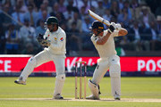 Jos Buttler of England bats as Sarfraz Ahmed keeps wicket during day three of the 1st Test match between England and Pakistan at Lord's Cricket Ground on May 26, 2018 in London, England.