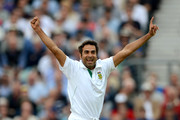 Imran Tahir of South Africa celebrates dismissing Tim Bresnan of England during day two of the 1st Investec Test match between England and South Africa at The Kia Oval on July 20, 2012 in London, England.