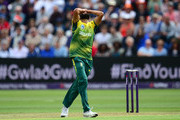 Imran Tahir of South Africa reacts during the 3rd NatWest T20 International between England and South Africa at the SWALEC Stadium on June 25, 2017 in Cardiff, Wales.