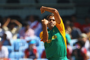 Imran Tahir of South Africa in action during the 2011 ICC World Cup match between England and South Africa at M. A. Chidambaram Stadium on March 6, 2011 in Chennai, India.