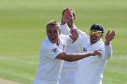 Stuart Broad (L) celebrates with Kevin Pietersen (R) after taking the final wicket of Suranga Lakmal and victory by an innings and 14 runs during day five of the 1st npower test match between England and Sri Lanka at the Swalec Stadium  on May 30, 2011 in Cardiff, Wales.