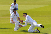 Kevin Pietersen of England takes the catch to dismiss Mahela Jayawardene of Sri Lanka watched by Matt Prior and Alastair Cook during day five of the 2nd npower Test Match between England and Sri Lanka at Lord's Cricket Ground on June 7, 2011 in London, England.