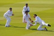 Kevin Pietersen of England takes the catch to dismiss Mahela Jayawardene of Sri Lanka watched by Graeme Swann (L), Matt Prior and Alastair Cook during day five of the 2nd npower Test Match between England and Sri Lanka at Lord's Cricket Ground on June 7, 2011 in London, England.