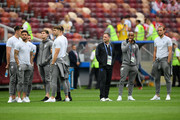 England players look on during a pitch inspection prior to the 2018 FIFA World Cup Russia Semi Final match between England and Croatia at Luzhniki Stadium on July 11, 2018 in Moscow, Russia.