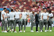 England players attend pitch inspection prior to the 2018 FIFA World Cup Russia Semi Final match between England and Croatia at Luzhniki Stadium on July 11, 2018 in Moscow, Russia.