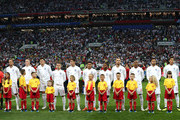 England lines up prior to the 2018 FIFA World Cup Russia Semi Final match between England and Croatia at Luzhniki Stadium on July 11, 2018 in Moscow, Russia.