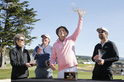 Actor Bill Murray holds up the 3M Celebrity Challenge trophy after winning prior to the AT&T Pebble Beach Pro-Am at Pebble Beach Golf Links on February 05, 2020 in Pebble Beach, California.