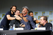 "(L-R) Actors Rodrigo Santoro, Colin O'Donoghue, Richard Rankin, Christopher Meloni, Ricky Whittle and David Harbour speak on stage during Entertainment Weekly's ""Brave New Warriors"" Panel at San Diego Comic-Con 2017 at San Diego Convention Center on July 21, 2017 in San Diego, California."