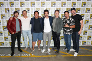 "(L-R) Eoin Macken, Dylan Bruce, Benedict Wong, Santiago Cabrera, Stephen Moyer, Jay Hernandez, and Tom Ellis attend Entertainment Weekly ""Brave Warriors"" panel during San Diego Comic-Con 2018 at the San Diego Convention Center on July 20, 2018 in San Diego, California."