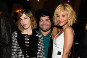 (L-R) Actress Carrie Brownstein, actor Harvey Guillen, and actress Kiersey Clemons attend Entertainment Weekly Celebration Honoring The Screen Actors Guild Awards Nominees presented by Maybelline at Chateau Marmont In Los Angeles on January 29, 2016 in Los Angeles, California.
