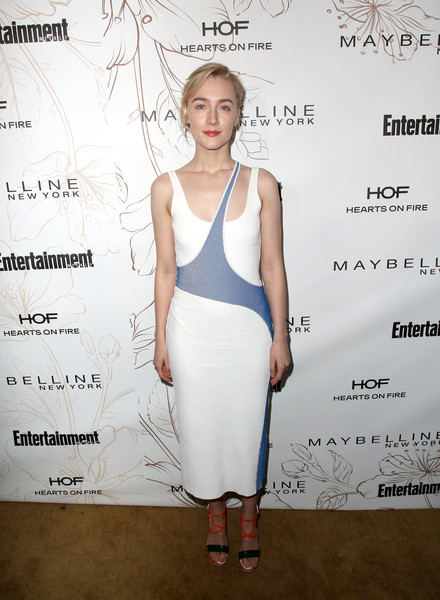 Saoirse Ronan was casual and cool in a white and blue tank dress by Esteban Cortazar during Entertainment Weekly's SAG Awards nominees celebration.