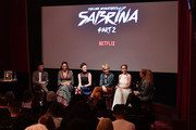 "(R-L) Entertainment Weekly's Ruth Kinane interviews Kiernan Shipka, Ross Lynch, Michelle Gomez, Jaz Sinclair, and Gavin Leatherwood at a screening of the ""Chilling Adventures of Sabrina: Part 2"", hosted by Entertainment Weekly and Netflix, at the Roxy Hotel on April 03, 2019 in New York City."