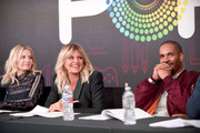"(L-R) Actors Elisha Cuthbert, Eliza Coupe and Damon Wayans Jr. speak onstage during the ""Happy Endings"" table read at Entertainment Weekly's PopFest at The Reef on October 29, 2016 in Los Angeles, California."