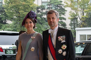 Crown Prince Frederik and Crown Princess Mary of Denmark arrive to attend the Enthronement Ceremony Of Emperor Naruhito of Japan at the Imperial Palace on October 22, 2019 in Tokyo, Japan.