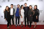 """(L-R) Silvana Moretti, Andrew Lee, Drake Doremus, Hanny Patel, Nicholas Hoult, Ogla Serna and guest attend """"Equals"""" Red Carpet Premiere Night during Tribeca Film Festival at BMCC John Zuccotti Theater on April 18, 2016 in New York City."""