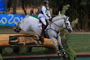 Colleen Loach of Canada riding Qorry Blue D'Argouges clears a jump during the Cross Country Eventing on Day 3 of the Rio 2016 Olympic Games at the Olympic Equestrian Centre on August 8, 2016 in Rio de Janeiro, Brazil.