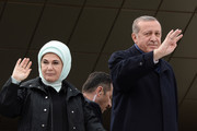 "Turkish President Tayyip Erdogan with his wife Emine greet supporters at Ankara Esenboga Airport on April 17, 2017 in Ankara Turkey. Erdogan declared victory in Sunday's historic referendum that will grant sweeping powers to the presidency, hailing the result as a ""historic decision. 51.4 per cent per cent of voters had sided with the ""Yes"" campaign, ushering in the most radical change to the country's political system in modern times.Turkey's main opposition calls on top election board to annul the referendum. OSCE observers said that a Turkish electoral board decision to allow as valid ballots that did not bear official stamps undermined important safeguards against fraud."