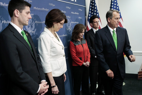House GOP Leaders Address Media  [event,suit,management,businessperson,white-collar worker,employment,collaboration,formal wear,business,official,r,john boehner,leaders,cathy mcmorris rodgers,eric cantor,clinton,paul ryan,podium,house,party conference]
