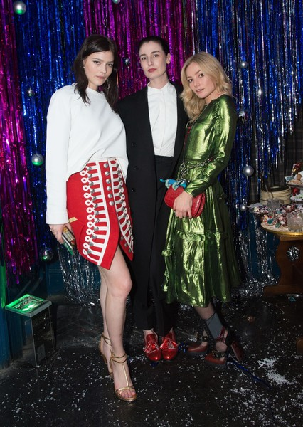 Burberry x Cara Delevingne Christmas Party, London [fashion,event,dress,christmas,fashion design,formal wear,performance,holiday,cara delevingne,clara paget,erin oconnor,amber anderson,x,london,england,burberry,christmas party]