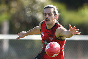 Jake Long of the Bombers competes for the ball  during an Essendon Bombers AFL training session at The Hangar on August 1, 2018 in Melbourne, Australia.