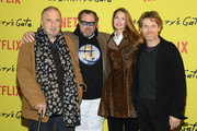 ".Jean-Claude Carriere, Julian Schnabel, Louise Kugelberg, Willem Dafoe attend the Photocall for ""At Eternity's Gate"" film at Musee du Louvre on April 02, 2019 in Paris, France."