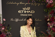 Chanel Iman attends the Etihad Airways cocktail party during NYFW: The Shows at Spring Studios on September 10, 2019 in New York City.