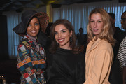 Halima Aden, Etihad Vice President of Brand & Marketing, Amina Taher and guest attend the Etihad Airways cocktail party during NYFW: The Shows at Spring Studios on September 10, 2019 in New York City.