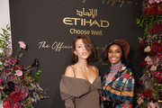 Georgia Fowler and Halima Aden attend the Etihad Airways cocktail party during NYFW: The Shows at Spring Studios on September 10, 2019 in New York City.