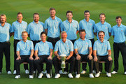 (front row left to right) Søren Kjeldsen, Kristoffer Broberg, Darren Clarke, Lee Westwood and Andy Sullivan. (back row left to right)  Victor Dubuisson, Ian Poulter, Shane Lowry, Chris Wood, Bernd Wiesberger,  Ross Fisher, Danny Willett and Matt Fitzpatrick of team Europe line up for a team photograph prior to the start of the EurAsia Cup presented by DRB-HICOM at Glenmarie G&CC on January 14, 2016 in Kuala Lumpur, Malaysia.