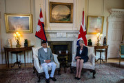 British Prime Minister Theresa May greets the Prime Minister of Nepal, Khadga Prasad Sharma Oli, ahead of bilateral talks at 10 Downing Street on June 11, 2019 in London, England.